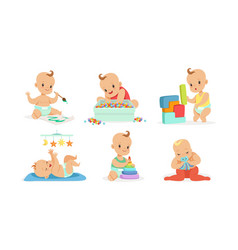 cute babies play and draw on vector image