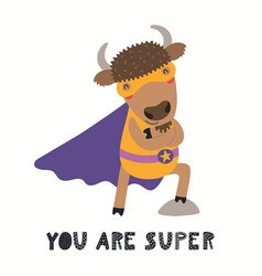 Cute bison superhero vector