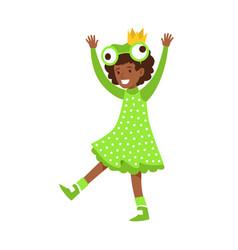 Cute little girl dressed as a frog colorful vector