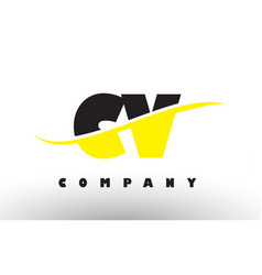 Cv c v black and yellow letter logo with swoosh vector