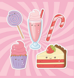 delicious and sweet products kawaii characters vector image