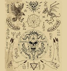 Design set with magic seals demon face vector