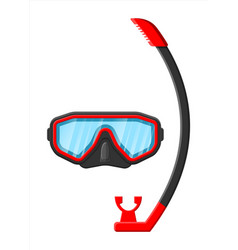 diving mask with snorkel diving equipment vector image