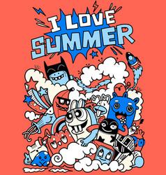 Doodle cute funny summer vector