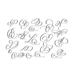 doodle funny brush calligraphy flourish set vector image