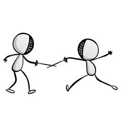 Doodle sport sword fighting vector image