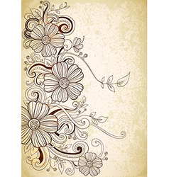 drawing vintage flowers vector image