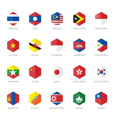 East Asia and South East Asia Flag Icons Hexagon vector