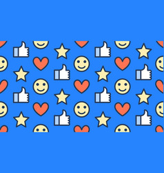 Feedback seamless pattern with flat line icons of vector