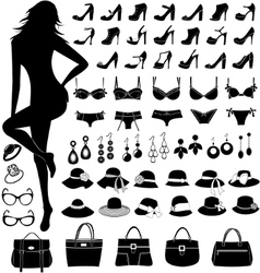 Female silhouette and fashion items vector
