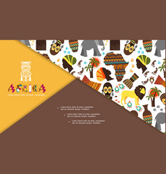 Flat african traditional elements composition vector