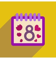 Flat icon with long shadow Women s Day Calendar vector