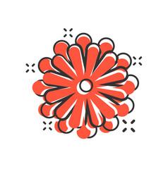 flower leaf icon in comic style magnolia dahlia vector image