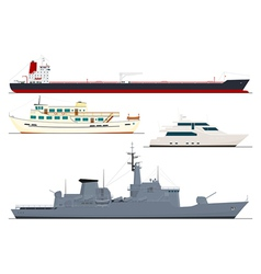 four isolated ships vector image vector image
