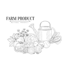 Fresh Farm Food And Watering Can Hand Drawn vector image