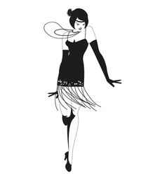 Funny flapper girl wearing vintage style clothes vector