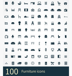 furniture 100 icons universal set for web and ui vector image