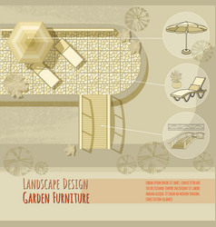 Garden design lounge chairs bridge umbrella vector
