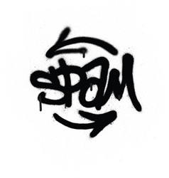 graffiti tag spam sprayed with leak in black vector image