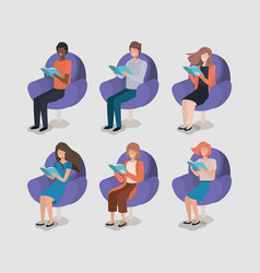 group of people reading book in the sofa vector image
