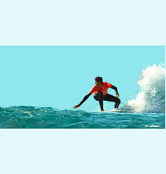 Guy surfs on a wave on a blue background vector