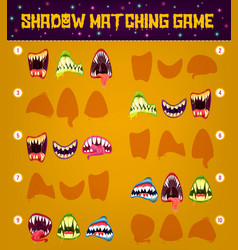 halloween monster shadow matching game template vector image