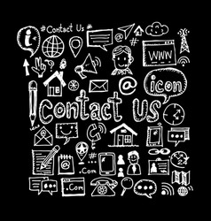 hand draw contact us icon design vector image