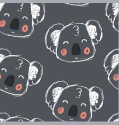 Hand drawing cute koala seamless pattern vector