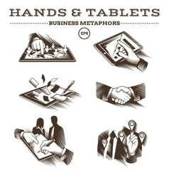 Hands and Tablets Engraved vector