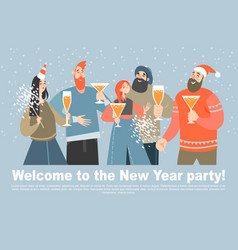 Happy friends celebrate coming new year vector