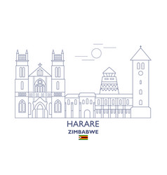 Harare city skyline vector