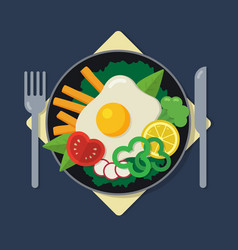Healthy breakfast flat a plate with omelet vector