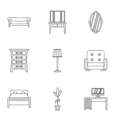 Home environment icons set outline style vector image