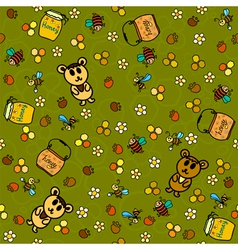 Honey background with bees and bears vector