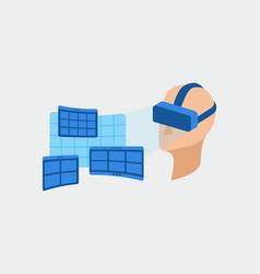 human head and screens set vector image