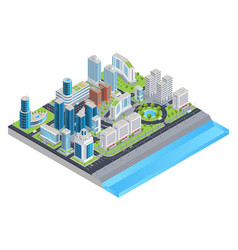 isometric city composition vector image