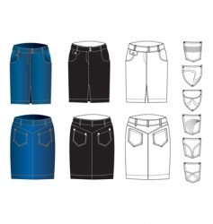 jeans skirts vector image