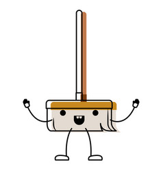kawaii cartoon broom with wooden stick in colorful vector image