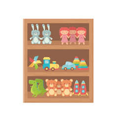 kids toy wooden shelf furniture with toys vector image