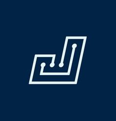 Letter j font maze italic geometric vector