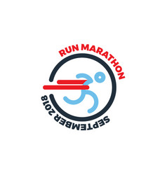 Logo for running marathon silhouette runner at vector