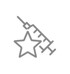 Medical syringe with star line icon vaccination vector