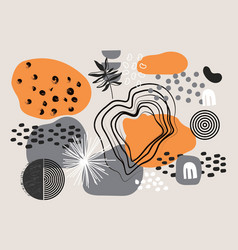 modern colorful abstract doodle elements on grey vector image