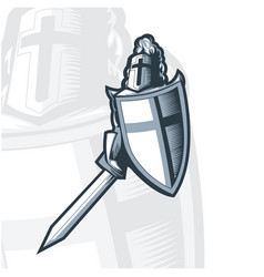 monochrome knight crusader with sword and shield vector image