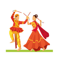 Navratri dancers couple traditional characters vector