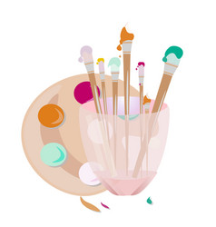 painting brushes tools art vector image