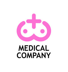 pink rose logo with female breast for medical vector image