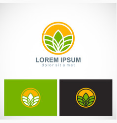 Plant agriculture round logo vector