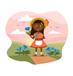 Pretty little girl picking fresh flowers vector