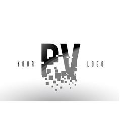 pv p v pixel letter logo with digital shattered vector image